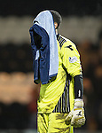 St Mirren v St Johnstone...25.03.14    SPFL<br /> Keeper Chris Dilo reacts at full time<br /> Picture by Graeme Hart.<br /> Copyright Perthshire Picture Agency<br /> Tel: 01738 623350  Mobile: 07990 594431