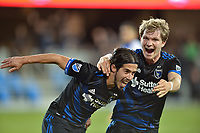 San Jose, CA - Friday April 14, 2017: Jahmir Hyka, Florian Jungwirth  during a Major League Soccer (MLS) match between the San Jose Earthquakes and FC Dallas at Avaya Stadium.