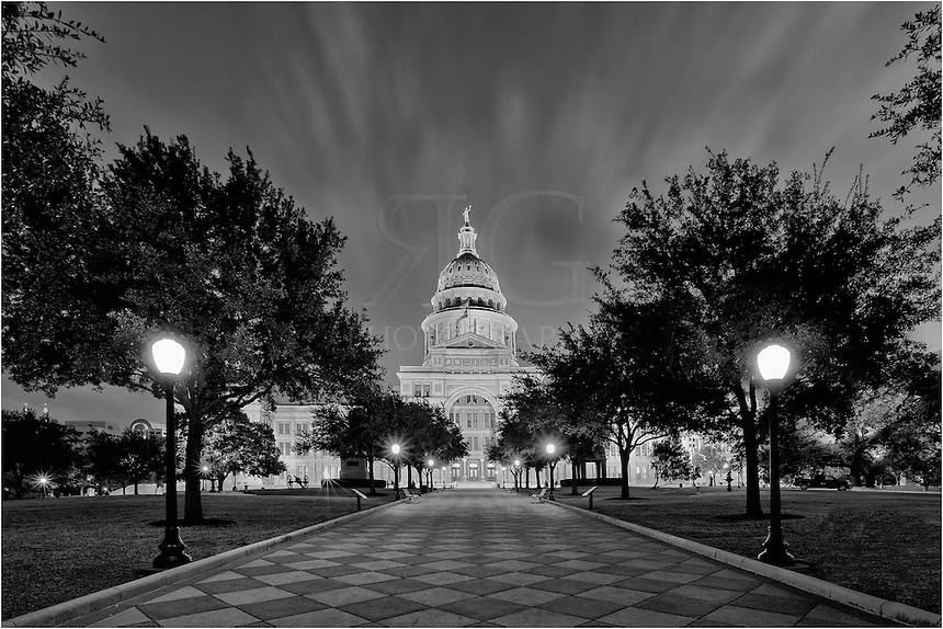 The Texas State Capitol in Austin, Texas, is a regal building. In the morning hours before sunrise, the grounds are quiet and peaceful, as they were this morning.