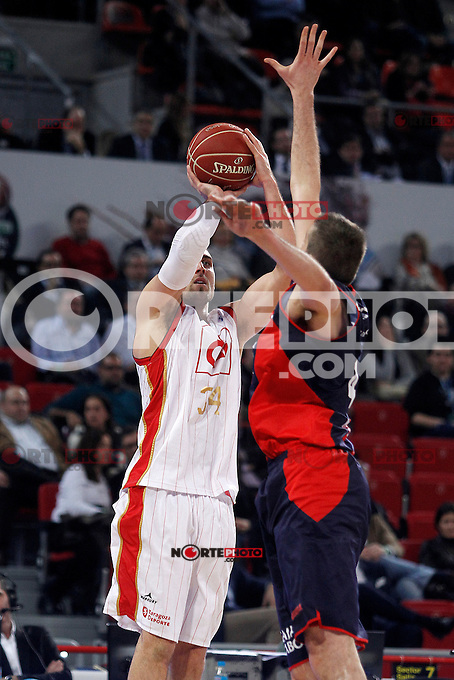 Caja Laboral Baskonia's Nemanja Bjelica (r) and CAI Zaragoza's Pablo Aguilar during Spanish Basketball King's Cup match.February 07,2013. (ALTERPHOTOS/Acero)