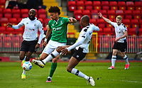 Lincoln City's Lee Angol vies for possession with Gateshead's Emanuel Smith<br /> <br /> Photographer Andrew Vaughan/CameraSport<br /> <br /> Vanarama National League - Gateshead v Lincoln City - Monday 17th April 2017 - Gateshead International Stadium - Gateshead <br /> <br /> World Copyright &copy; 2017 CameraSport. All rights reserved. 43 Linden Ave. Countesthorpe. Leicester. England. LE8 5PG - Tel: +44 (0) 116 277 4147 - admin@camerasport.com - www.camerasport.com