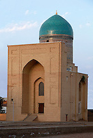 General view of Bibi-Khanym Madrasah and Mausoleum, 15th century, Samarkand, Uzbekistan, pictured on July 17, 2010, in the afternoon. The mausoleum of Timur's wife (which houses a madrasah) is located opposite the Mosque also named after her. Both have been extensively restored. Samarkand, a city on the Silk Road, founded as Afrosiab in the 7th century BC, is a meeting point for the world's cultures. Its most important development was in the Timurid period, 14th to 15th centuries. Picture by Manuel Cohen.