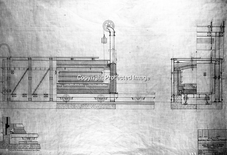 Pittsburgh PA:  View of William Swindell & Brothers engineering drawing of the Car type electric Heat Treating Furnace - 1925.  Swindell Dressler International Company was based in Pittsburgh, Pennsylvania. The company was founded by Phillip Dressler in 1915 as American Dressler Tunnel Kilns, Inc.  In 1930, American Dressler Tunnel Kilns, Inc. merged with William Swindell and Brothers to form Swindell-Dressler Corporation. The Swindell brothers designed, built, and repaired metallurgical furnaces for the steel and aluminum industries. The new company offered extensive heat-treating capabilities to heavy industry worldwide.