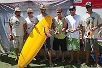 Finalists  from left to right JAMES LEWIS 2ND, JAMES WATSON 3RD, PAUL WARD 1ST, OCCY 5TH, LUKE EGAN 6TH, and DAMIEN HEALEY 4TH.     Burleigh Heads Sunday January 10 2009. The 12th annual Honolua Burleigh Boardriders Single Fin Classic  contest wrapped up today at Burleigh Heads, Queensland, Australia. PAUL WARD (AUS)  was the over all winner with former pro surfers like LUKE EGAN (AUS) and MARK OCCHILUPO (AUS) Photo: joliphotos.com