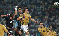 Nick Palodichuk goes up for the header against Marc Muniesa (5). Spain defeated the U.S. Under-17 Men National Team  2-1 at Sani Abacha Stadium in Kano, Nigeria on October 26, 2009.