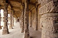 A Mausoleum next to Menar e Qutub in Delhi, India. The higher Menar in the world, 70 meters.