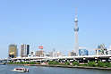 May 27, 2012, Tokyo, Japan - The newly opened Tokyo Skytree tower, with the Sumida River in the foreground, on Sunday, May 27, 2012. Tokyo Skytree, the world's tallest broadcasting tower, and surrounding facilities had 564,000 visitors in its first weekend since opening last week. The good weather on both days helped push the figure above the initial forecast of about 400,000 visitors. (Photo by AFLO) -ty-