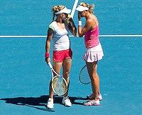 Maria Kirilenko (RUS) & Victoria Azarenka (BLR) (12) against Gisela Dulko (ARG) & Flavia Pennetta (ITA) (1) in the final of the women's doubles. Gisela Dulko & Flavia Pennetta beat Maria Kirilenko & Victoria Azarenka 2-6 7-5 6-1..International Tennis - Australian Open  -  Melbourne Park - Melbourne - Day 12 - Fri 28th January 2011..© Frey - AMN Images, Level 1, Barry House, 20-22 Worple Road, London, SW19 4DH.Tel - +44 208 947 0100.Email - Mfrey@advantagemedianet.com.Web - www.amnimages.photshelter.com