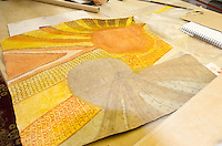 Finished tapa (or kapa) cloth after it has been dyed and completed, by artist Roen Hufford, Big Island.