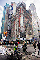 The former Knickerbocker Hotel, aka 1466 Broadway, in Times Square in New York on Friday, February 14, 2014. Built in 1906, the building had been offices and showrooms since 1921 when it was purchased by FelCor Lodging Trust in 2011 and is being turned once again into a luxury hotel. FelCor has recently hired celebrity chef Charlie Palmer to run the hotel's dining establishments. These include a 120 seat cafe, a take-out spot on the ground floor, a private dining room and 250 person rooftop lounge.  (© Richard B. Levine)