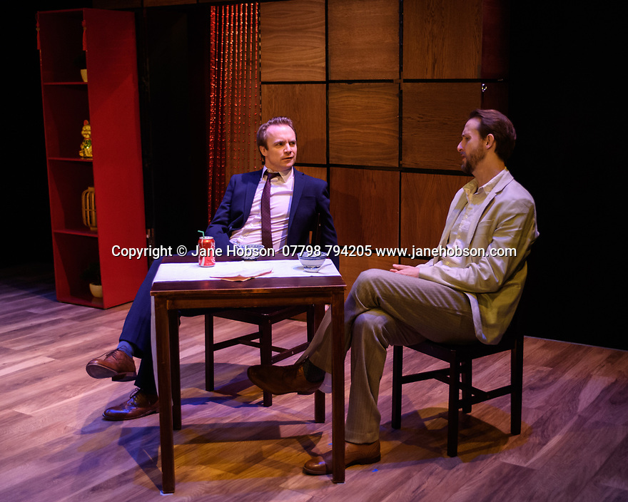 """""""CHINGLISH, by David Henry Hwang, opens at the Park Theatre. Directed by Andrew Keates, with lighting design by Christopher Nairne and set and costume design by Tim McQuillen-Wright. Picture shows: Gyuri Sarossy (Daniel), Duncan Harte (Peter Timms)"""