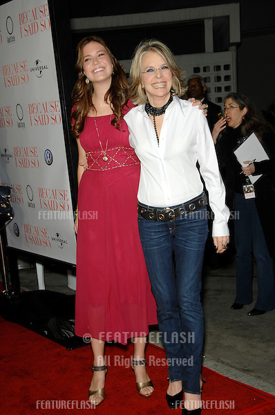 """DIANE KEATON & MANDY MOORE (in red) at the world premiere of their new movie """"Because I Said So"""" at the Arclight Theatre, Hollywood..January 30, 2007  Los Angeles, CA.Picture: Paul Smith / Featureflash"""