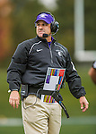 8 October 2016: Amherst College Purple & White Head Coach E.J. Mills on the field during a game against the Middlebury College Panthers at Alumni Stadium in Middlebury, Vermont. The Panthers edged out the Purple & While 27-26. Mandatory Credit: Ed Wolfstein Photo *** RAW (NEF) Image File Available ***