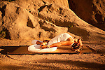 Woman in Lotus Fish pose or Padma Matsyasana.<br />