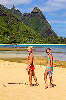 Two snorkelers enjoying the day at Tunnels Beach on Kaua'i.