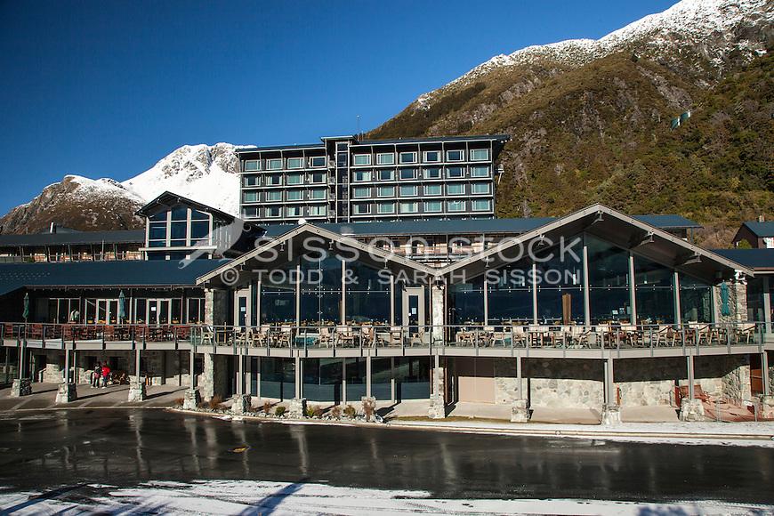 Hermitage Hotel frontage -Aoraki Mt Cook Village NZ.  Aoraki / Mount Cook National Park NZ
