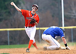 BURLINGTON CT. 24 April 2017-042417SV13-#6 Riley Zappone of Terryville gets the late throw off to 1st after forcing #31 Wil Coughlin of Lewis Mills out at 2nd in the 4th inning in Burlington Monday. <br /> Steven Valenti Republican-American