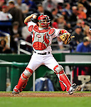 29 September 2009: Washington Nationals' catcher Wil Nieves in action against the New York Mets at Nationals Park in Washington, DC. The Nationals rallied to defeat the Mets 4-3 in the second game of their final 3-game home series. Mandatory Credit: Ed Wolfstein Photo