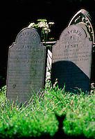 Slate tombstones in Landewednack Churchyard, Cornwall