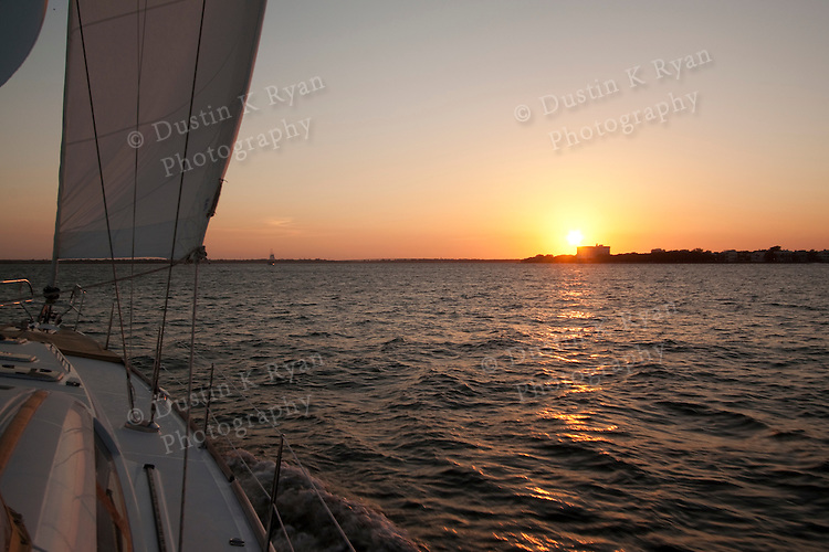 Sailing Sunset charleston south carolina beneteau 49 sailboat yacht cooper ...
