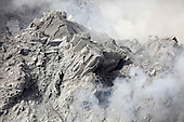 Close-up of extrusion lobe on Rerombola lava dome of Paluweh Volcano during 2012 eruption, Flores, Indonesia.