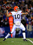 17 November 2008:  Cleveland Browns' quarterback Brady Quinn passes for a 14 yard gain in the second quarter against the Buffalo Bills at Ralph Wilson Stadium in Orchard Park, NY. The Browns defeated the Bills 29-27 in the Monday Night AFC matchup. *** Editorial Sales Only ****..Mandatory Photo Credit: Ed Wolfstein Photo