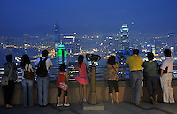 Tourists on on the Peak in Hong Kong overlooking Hong Kong harbour..27 Sep 2008