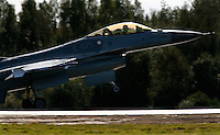 Lockheed Martin F-16 Fighting Falcon performs a display during Rygge Airshow. Norway