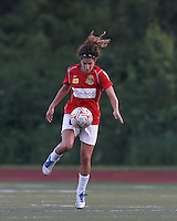 Western New York midfielder Angela Salem (6) traps the ball. In a Women's Premier Soccer League Elite (WPSL) match, the Boston Breakers defeated Western New York Flash, 3-2, at Dilboy Stadium on May 26, 2012.
