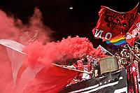Portland, OR - Saturday April 15, 2017: Thorns Supporters Celebrate during a regular season National Women's Soccer League (NWSL) match between the Portland Thorns FC and the Orlando Pride at Providence Park.