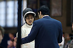 12 February 2017: Duke's Vivian Wang (left) talks to coach Slava Zingerman (right) during Epee. The Duke University Blue Devils hosted the Boston College Eagles at Card Gym in Durham, North Carolina in a 2017 College Women's Fencing match. Duke won the dual match 19-8 overall, 6-3 Foil, 5-4 Epee, and 8-1 Saber.