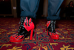 WATERBURY,  CT-120816JS13 Boots worn by playwright  Jacques Lamarre during Strut, a fundraiser event prior to a performance of &quot;Kinky Boots&quot; at the Palace Theater in Waterbury. The event benefitted True Colors of Connecticut, an organization that supports Lesbian, Gay, Bi-sexual and Transgender youth in the state. <br /> Jim Shannon Republican American
