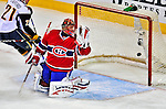 20 December 2008: Montreal Canadiens' goaltender Jaroslav Halak from the Slovak Republic gives up the first goal of the game in the first period by the Buffalo Sabres at the Bell Centre in Montreal, Quebec, Canada. With both teams coming off wins, the Canadiens extended their winning streak by defeating the Sabres 4-3 in overtime. ***** Editorial Sales Only ***** Mandatory Photo Credit: Ed Wolfstein Photo