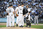 CHICAGO - SEPTEMBER 29:  Chris Sale #49 of the Chicago White Sox leaves the mound after being removed from the game against the Tampa Bay Rays on September 29, 2012 at U.S. Cellular Field in Chicago, Illinois.  (Photo by Ron Vesely)  Subject:  Chris Sale