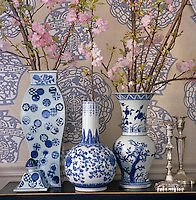 A group of blue and white vases filled with branches cherry blossom stand against the backdrop of a Chinese print wallpaper
