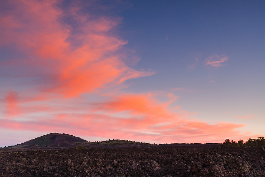 Field of volcanic rock at sunset within Craters of the Moon National Monument.