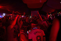 Recife, Brazil - Wednesday, June 25, 2014: Will Ferrell and Teddy Goalsevelt at the US Soccer fan HQ.