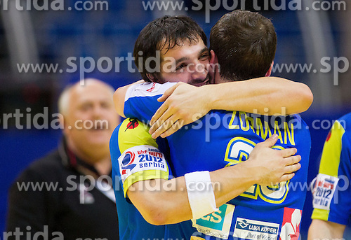 David Spiler of Slovenia and Uros Zorman of Slovenia celebrate after the handball match between Iceland and Slovenia in  3rd Round of Preliminary Round of 10th EHF European Handball Championship Serbia 2012, on January 20, 2012 in Millennium Center, Vrsac, Serbia. Slovenia defeated Iceland 34-32. (Photo By Vid Ponikvar / Sportida.com)
