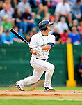 21 August 2010: Vermont Lake Monsters' outfielder Wade Moore in action against the Brooklyn Cyclones at Centennial Field in Burlington, Vermont. The Cyclones defeated the Lake Monsters 8-7 in a 12-inning game that had to be resumed in Brooklyn on August 31 due to late inning rain. Mandatory Credit: Ed Wolfstein Photo