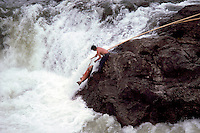 Native American Indian Fisherman fishing for Salmon with Gaff in Bulkley River, Moricetown, Northern BC, British Columbia, Canada