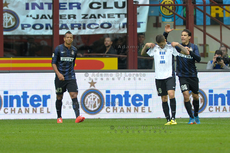Mauro Icardi (Inter) show tshirt with text Wan te amo during the Serie Amatch between Inter vs Atalanta, on March 23, 2014. Photo: Adamo Di Loreto/NurPhoto