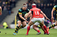 Paul Hill of Northampton Saints takes on the Saracens defence. Aviva Premiership match, between Northampton Saints and Saracens on April 16, 2017 at Stadium mk in Milton Keynes, England. Photo by: Patrick Khachfe / JMP