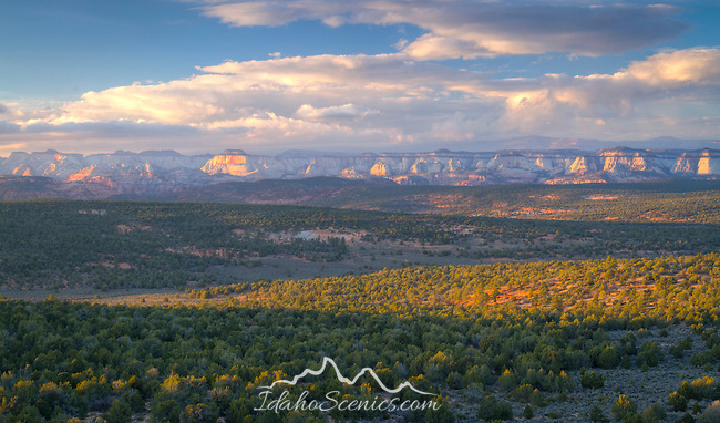 Utah, Southern, Zion National Park. Sunset light on the cliffs in Zion National Park.