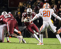 The tenth ranked South Carolina Gamecocks host the 6th ranked Clemson Tigers at Williams-Brice Stadium in Columbia, South Carolina.  USC won 31-17 for their fifth straight win over Clemson.  South Carolina Gamecocks running back Mike Davis (28)