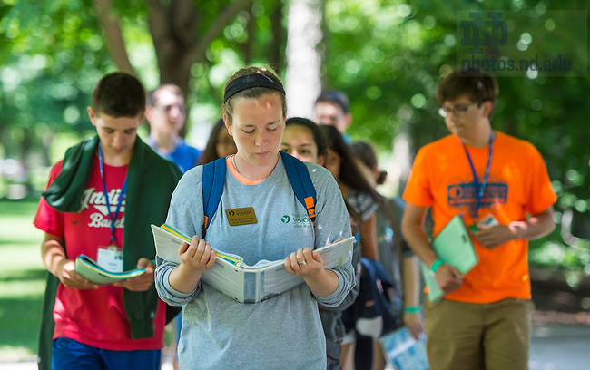 July 7, 2015; ND VISION - Emmaus Walk - Groups tour campus while heading to the Grotto.  (Photo by Barbara Johnston/University of Notre Dame)