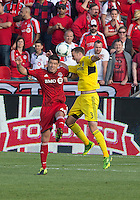 18 May 2013: Columbus Crew defender Josh Williams #3 and Toronto FC defender Darren O'Dea #48 in action during an MLS game between the Columbus Crew and Toronto FC at BMO Field in Toronto, Ontario Canada..The Columbus Crew won 1-0...