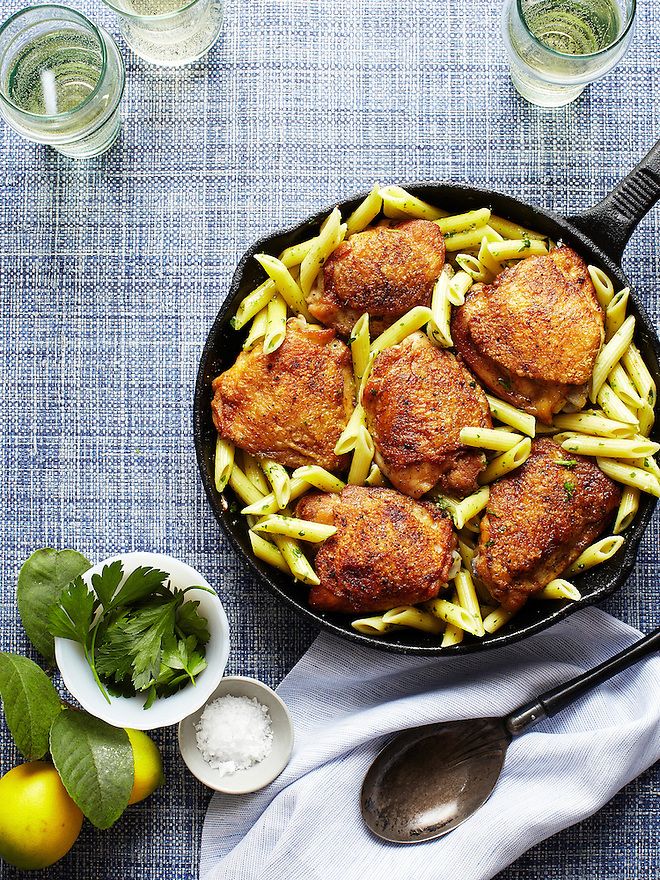 Skillet Suppers: Baked Chicken Thighs with Arugula Pesto and Penne Pasta
