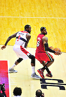 Lebron James of the Heat does a spin move against Wizards' Martell Webster. Washington Wizards defeated the Miami Heat 105-101 at the Verizon Center in Washington, D.C. on Tuesday, December 4, 2012.   Alan P. Santos/DC Sports Box