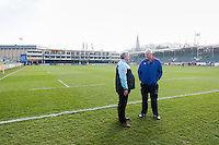 Harlequins Director of Rugby John Kingston speaks with Bath Rugby Director of Rugby Todd Blackadder prior to the match. Aviva Premiership match, between Bath Rugby and Harlequins on February 18, 2017 at the Recreation Ground in Bath, England. Photo by: Patrick Khachfe / Onside Images