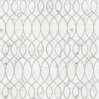 Anisa, a natural stone waterjet mosaic shown in polished Calacatta Tia, is part of the Silk Road Collection by Sara Baldwin for New Ravenna Mosaics. <br />